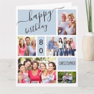 Any Age 5 Photo Collage Grey Blue Custom Birthday Card