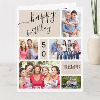 Any Age 5 Photo Collage Stone Custom Birthday Card