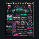 """ANY AGE Adult 90th birthday party chalkboard Poster<br><div class=""""desc"""">Custom chalkboard</div>"""
