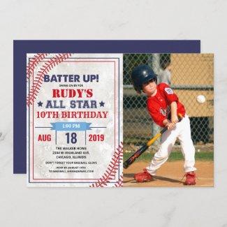 ANY AGE - Baseball Birthday Photo Invitation