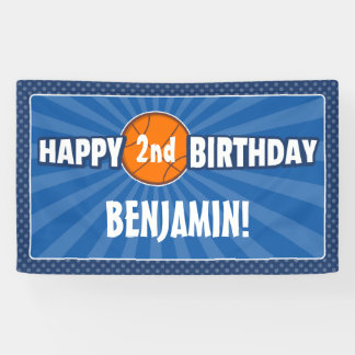 Any Age Basketball Blue Birthday Banner