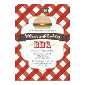 ANY AGE BBQ BIRTHDAY PARTY 5X7 PAPER INVITATION CARD