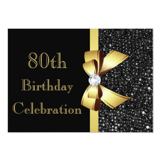 Any Age Birthday Black Faux Sequins Gold Bow Card