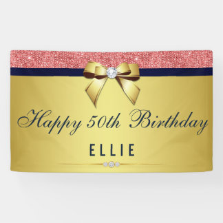 Any Age Birthday Coral Sequins Gold Diamond Bow Banner