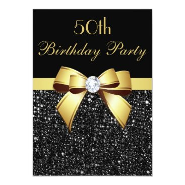 birthday Any Age Birthday Faux Sequins Bow Black Gold Card