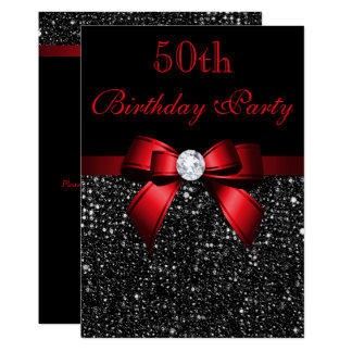Any Age Birthday Faux Sequins Bow Black Red Card