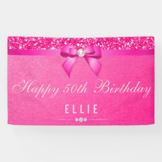 Any Age Birthday Fuchsia Diamond Bow Glitter Banner