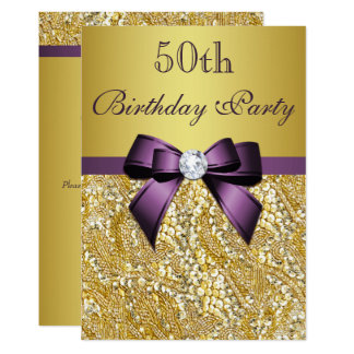 Any Age Birthday Gold Faux Sequins Purple Bow Card