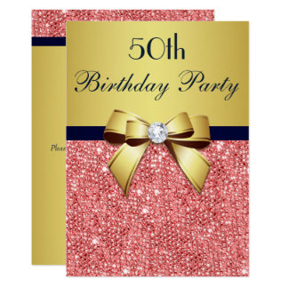 Any Age Birthday Gold Navy Coral Sequins Bow Card