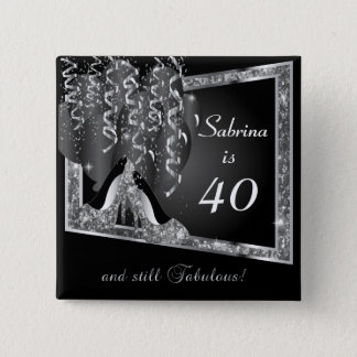 Any Age Birthday in Black & Silver Glitter Button