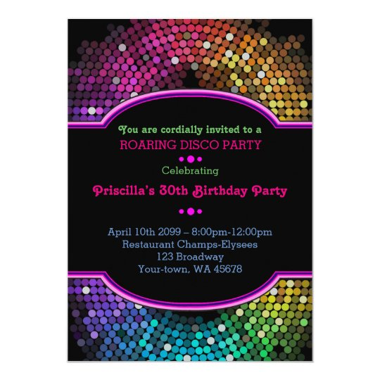 Neon invitations announcements zazzle any agebirthday invitation party gatsby disco stopboris Gallery
