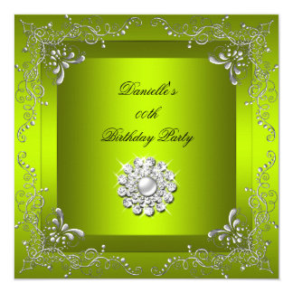 Any Age Birthday Party Chartreuse Yellow Green Card