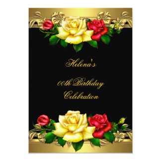 Any Age Birthday Party Elegant Red Gold Roses 3 5x7 Paper Invitation Card
