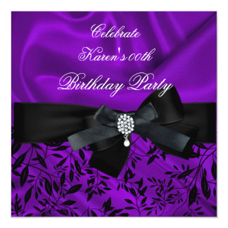 Any Age Birthday Party Purple Damask Black White 2 Card
