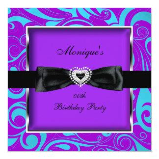 Any Age Birthday Party Purple Teal Modern Swirls Card
