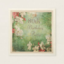 Any Age Birthday Party Shabby Chic Hibiscus Paper Napkin