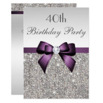 Any Age Birthday Party Silver Sequin Purple Bow Card