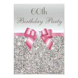 Any Age Birthday Party Silver Sequins Pink Bow Card