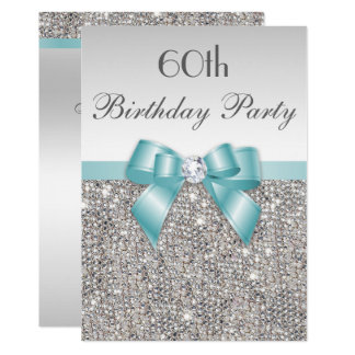 Any Age Birthday Party Silver Sequins Teal Bow Card