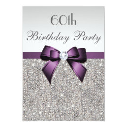 Any Age Birthday Party Silver Sequins Violet Bow Card