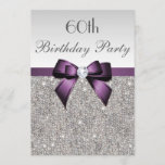 """Any Age Birthday Party Silver Sequins Violet Bow Invitation<br><div class=""""desc"""">Elegant, personalized custom violet / purple and silver any age birthday party invitations for women and girls with a beautiful glittery silver printed image sequins jewels, gems pattern, cute, sophisticated shiny purple printed bows and ribbons and pretty digital diamonds bling jewels and purple text on a silver gradient background. Please...</div>"""
