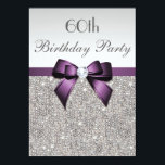 "Any Age Birthday Party Silver Sequins Violet Bow Invitation<br><div class=""desc"">Elegant, personalized custom violet / purple and silver any age birthday party invitations for women and girls with a beautiful glittery silver printed image sequins jewels, gems pattern, cute, sophisticated shiny purple printed bows and ribbons and pretty digital diamonds bling jewels and purple text on a silver gradient background. Please...</div>"