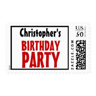 Any Age Birthday Party Stamp Custom Name V20