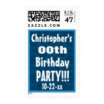 Any Age Birthday Party Stamp Custom Name Year V03