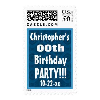 Any Age Birthday Party Stamp Custom Name Year V03