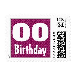Any Age Birthday Party Stamp Custom Name Year V10