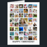 """Any Age Birthday Photo Collage 45 Photos Custom Card<br><div class=""""desc"""">Celebrate a BIG birthday with BIG memories on a BIG photo collage greeting card! Customize with your personal greeting and well wishes as all text is editable on the cover as well as inside and on the back. PHOTO TIP: For fastest/best results, choose a photo with the subject in the...</div>"""