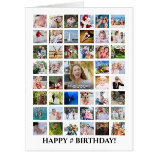 Any Age Birthday Photo Collage 45 Photos Custom Card