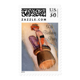 Any Age Birthday Pin Up Girl on Champagne Cork Postage