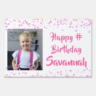 Any Age Birthday Pink Purple Confetti Photo Lawn Sign