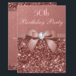 """Any Age Birthday Rose Gold Glitter Diamond Bow Card<br><div class=""""desc"""">Elegant, personalized custom rose gold and blush birthday party invitations for women with glamorous rose gold faux glitter, sophisticated shiny printed rose gold bows and ribbons and pretty digital diamonds bling jewels and blush pink text on a deep rose gold gradient background. PLEASE NOTE: These are flat printed images -...</div>"""
