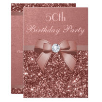 Any Age Birthday Rose Gold Glitter Diamond Bow Card