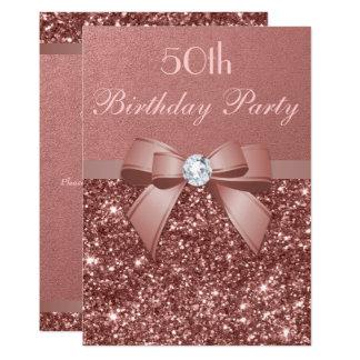 Any Age Birthday Rose Gold Glitter Diamond Bow Invitation