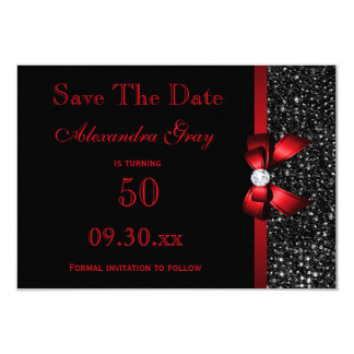 Any Age Birthday Save The Date Black and Red Card