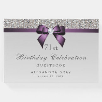 Any Age Birthday Silver Faux Sequins Purple Bow Guest Book