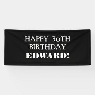 Any Age Black White Custom Happy Birthday Banner
