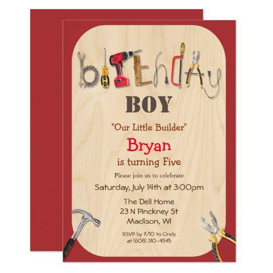 any age boy builder tool birthday invitation zazzle com
