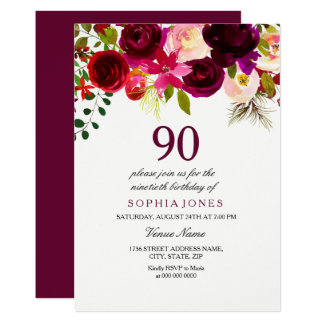 Any Age Burgundy Floral 90th Birthday Party Invite