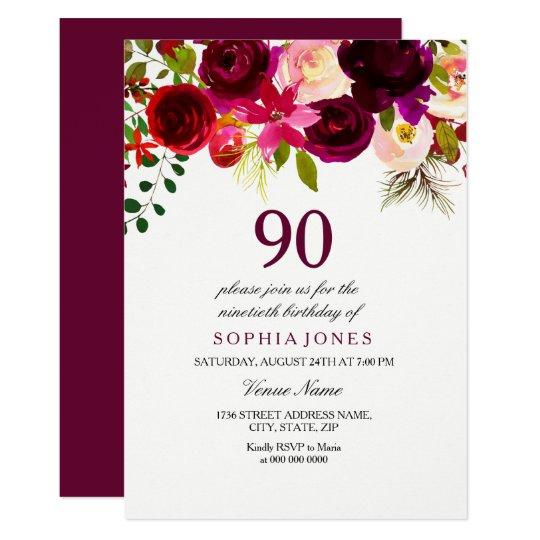 Any Age Burgundy Floral 90th Birthday Party Invite Zazzlecom