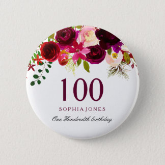 Any Age Burgundy Floral Boho 100th Birthday Party Button