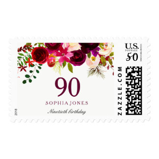 Any Age Burgundy Floral Boho 90th Birthday Party Postage