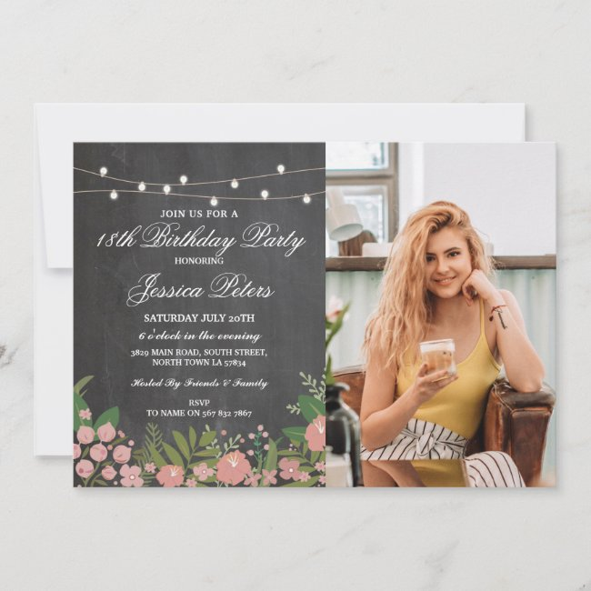 Any Age Chalk 18th Birthday Party Floral Flowers Invitation