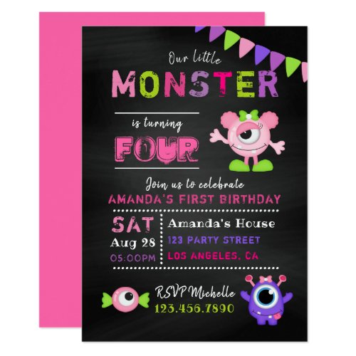 Any Age Chalkboard Little Monster Girl Birthday Invitation