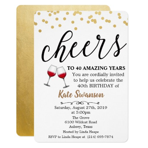 ANY AGE - Cheers Wine Birthday Invitation