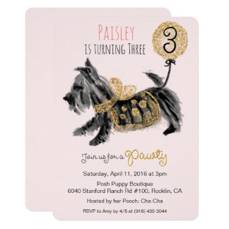 ANY AGE - Couture Puppy Dog Birthday Invitation