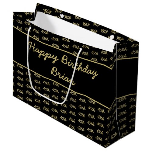 Any Age Custom Number Pattern - Gold and Black Large Gift Bag